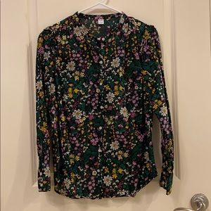 Old navy black floral button up shirt
